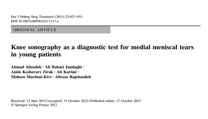 Knee sonography as a diagnostic test for medial meniscal tears in young patients