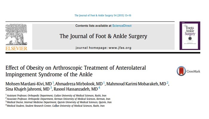 Effect of Obesity on Arthroscopic Treatment of Anterolateral Impingement Syndrome of the Ankle