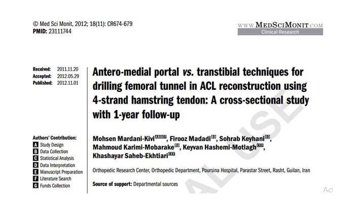 Antero-medial portal vs. transtibial techniques for drilling femoral tunnel in ACL reconstruction using 4-strand hamstring tendon: A cross-sectional studywith 1-year follow-up