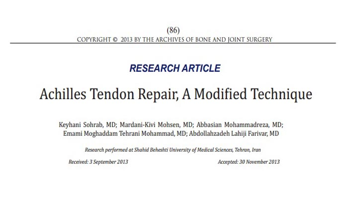 Achilles Tendon Repair, A Modified Technique
