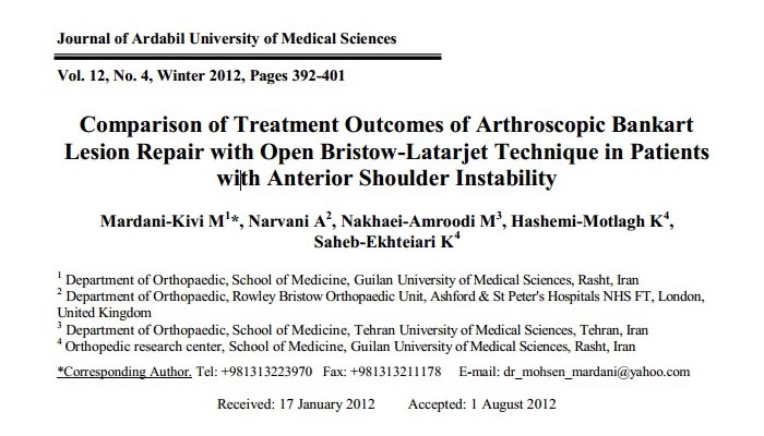 Comparison of Treatment Outcomes of Arthroscopic Bankart Lesion Repair with Open Bristow-Latarjet Technique in Patients with Anterior Shoulder Instability