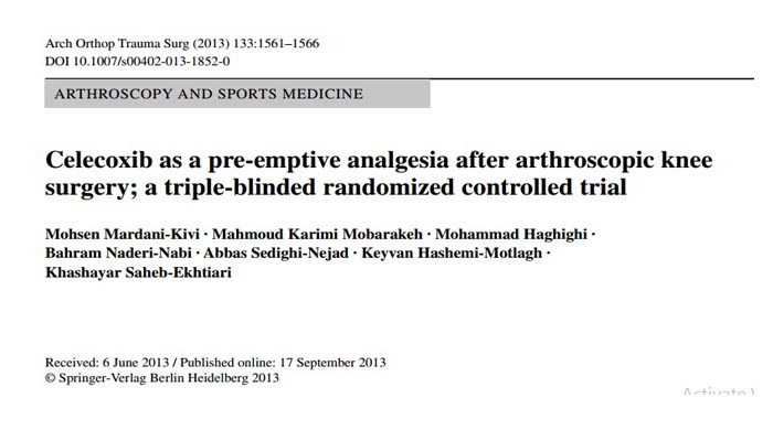 Celecoxib as a pre‑emptive analgesia after arthroscopic knee surgery; a triple‑blinded randomized controlled trial