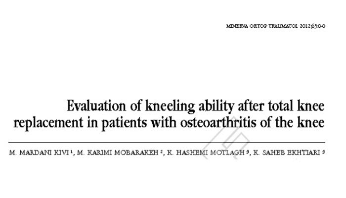 Evaluation of kneeling ability after total knee replacement in patients with osteoarthritis of the knee