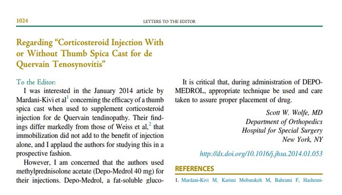 "Regarding ""Corticosteroid Injection With or Without Thumb Spica Cast for de Quervain Tenosynovitis"