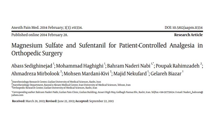 Magnesium Sulfate and Sufentanil for Patient-Controlled Analgesia in Orthopedic Surgery