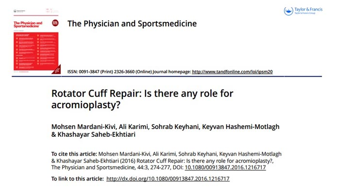 Rotator Cuff Repair, Is there any role for acromioplasty